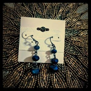 3 for $10 earrings blue and black iridescent
